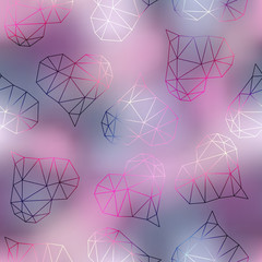 Geometric hearts on blur pink background.