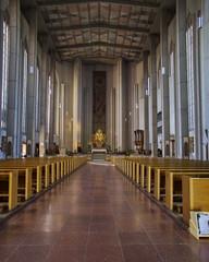 simple catholic church interior, Munich, Bavaria Germany