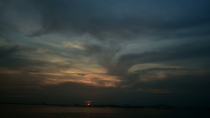 Time lapse of sunset sky with Si Chang island background