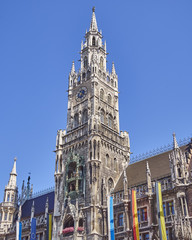 the tower of the town hall, Munich, Bavaria Germany