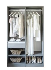 vintage and stylish interior of wooden wardrobe
