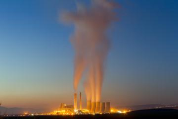 Electric power plant in Kozani Greece. Slow shutter speed