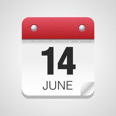 Vector calendar icon 14 June Flag Day
