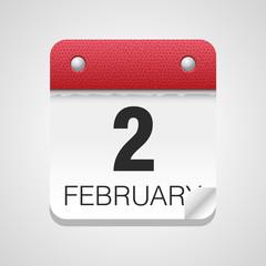 Vector calendar icon 2 February Groundhog Day