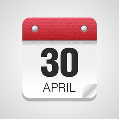 Vector calendar icon 30 April Vietnam Veterans Day