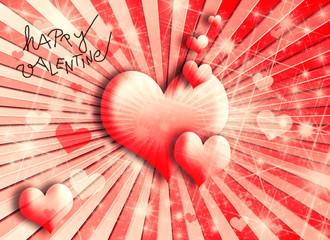 rote Herzen auf retro Strahlen