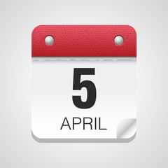 Vector calendar icon 5 April Easter 2015