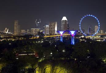 Сингапур ночью.