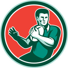 Rugby Player Ball Hand Out Circle Retro