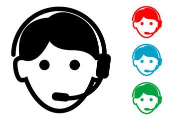 Pictograma icono teleoperador con varios colores