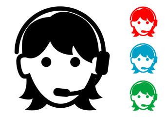 Pictograma icono teleoperadora con varios colores