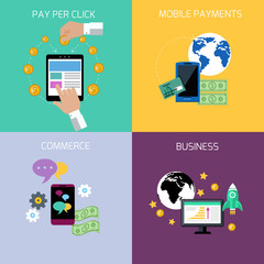 Internet business and payment concept icons