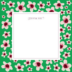 Vector thank you floral card.