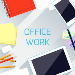 Office work and workplace organization concept