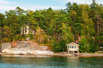 Finnish Wooden Bath Sauna Log Cabin On Island In Summer