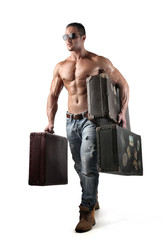Suitcases carried by a muscular man