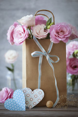 St. Valentines Day vertical background with flowers, paper heart