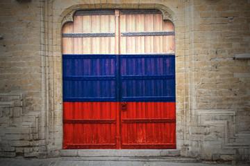 Hintergrund Russland Flagge mittelalterliche Holztür