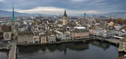 Panorama of the city of Zurich (Switzerland).