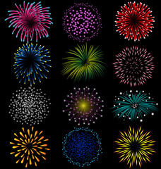 Fireworks set on black background