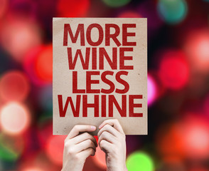 More Wine Less Whine card with colorful background