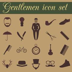 Set of vintage barber, hairstyle and gentlemen icon. Vector illu