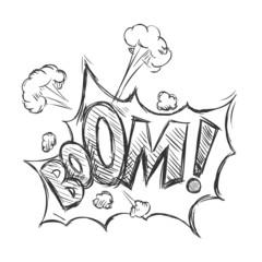 Vector Sketch Comics Word - Boom