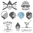 Set of retro ski emblems, badges and design elements - 74770101