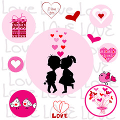 Set of round frames with Valentine elements