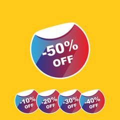Discount percent stickers price tag in flat design