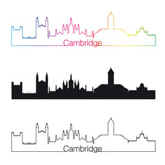 Cambridge skyline linear style with rainbow