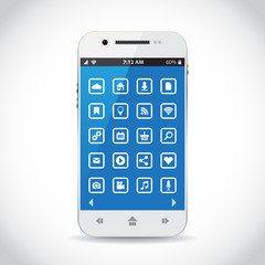 Cellphone with flat icons