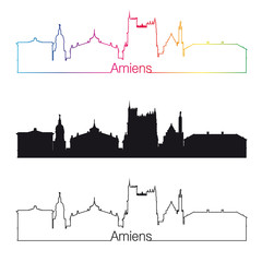 Amiens skyline linear style with rainbow