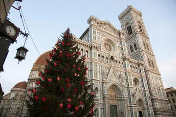 Toscana,Firenze,Il Duomo e albero di Natale.
