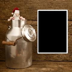 Funny Santa and milk can Christmas frame