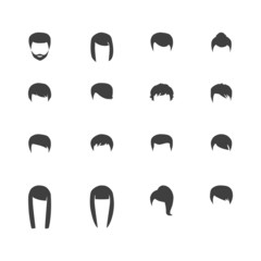 hair silhouettes, woman and man hairstyle