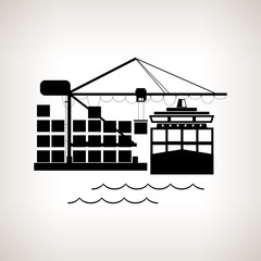Silhouette cargo container ship and cargo crane
