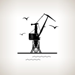Silhouette cargo crane  on a light background