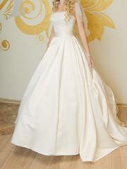 Bride in Atlas Dress