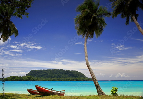 Fotobehang Eilanden Red canoes-Port Olry-Vanuatu