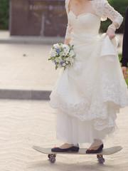 Bride on Longboard