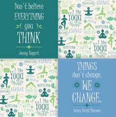 Yoga background with yogic quotes.