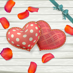 Valentines Day toys on wooden plates. EPS 10