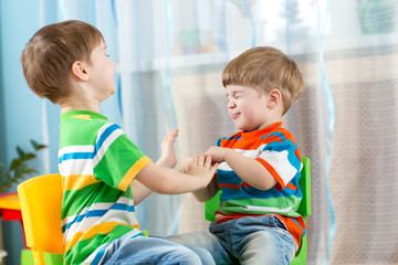 playful kids friends at home
