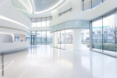 Poster futuristic modern office building interior in urban city