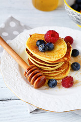 Sweet pancakes on a white plate