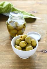 Pickled olives in a bowl
