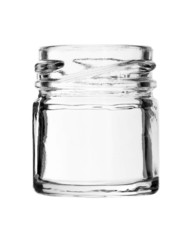 Short Wide Mouth Glass Bottle No Cap isolated on white backgroun