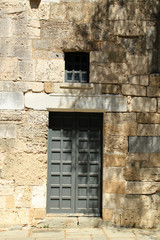 Fortified doorway in wall of old Ottoman building in Kos,Greece