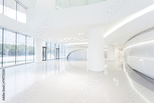 Poster futuristic modern office building interior in urban city